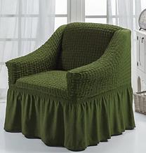 Чехол на кресло универсальный натяжной на резинке с юбкой Зеленый Жатка