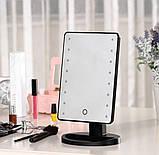 Зеркало настольное для макияжа с подсветкой LED - бренд Large Led Mirror ЧЕРНОЕ, зеркало с лампами, фото 2