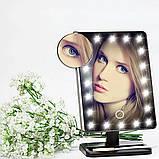 Зеркало настольное для макияжа с подсветкой LED - бренд Large Led Mirror ЧЕРНОЕ, зеркало с лампами, фото 8