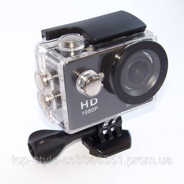 Екшн камера A7 FullHD + аквабокс + Реєстратор Повний компект+кріплення шолом ЧОРНА, міні відеокамера
