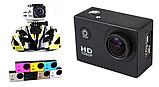 Екшн камера A7 FullHD + аквабокс + Реєстратор Повний компект+кріплення шолом ЧОРНА, міні відеокамера, фото 9