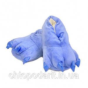 Мягкие тапочки кигуруми темно-синие лапы  Код 10-2754