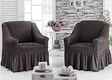 Чехол на кресло универсальный натяжной на резинке с юбкой Темно серый Графит Жатка