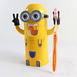 Яскравий Автоматичний дитячий дозатор зубної пасти Міньйон. Краща Ціна!, фото 4