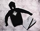 Laсoste мужской черный спортивный костюм с капюшоном весна осень.Laсoste худи черное штаны черные с полосами, фото 4