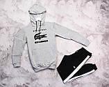 Laсoste Original мужской черный спортивный костюм с лампасами+капюшоном весна осень.Laсoste худи+штаны черные, фото 2