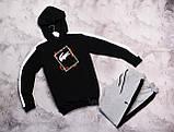 Laсoste Original мужской черный спортивный костюм с лампасами+капюшоном весна осень.Laсoste худи+штаны черные, фото 4