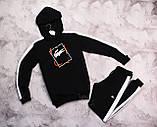Laсoste Original мужской черный спортивный костюм с лампасами+капюшоном весна осень.Laсoste худи+штаны черные, фото 6