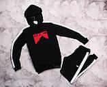 The North Face мужской серый спортивный костюм с капюшоном весна осень.The North Face кофта серая штаны черные, фото 3
