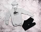 Lacosta Original мужской серый черный спортивный костюм с капюшоном весна осень.Lacosta  худи +штаны серые, фото 2