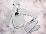 Lacosta Original мужской серый черный спортивный костюм с капюшоном весна осень.Lacosta  худи +штаны серые, фото 3