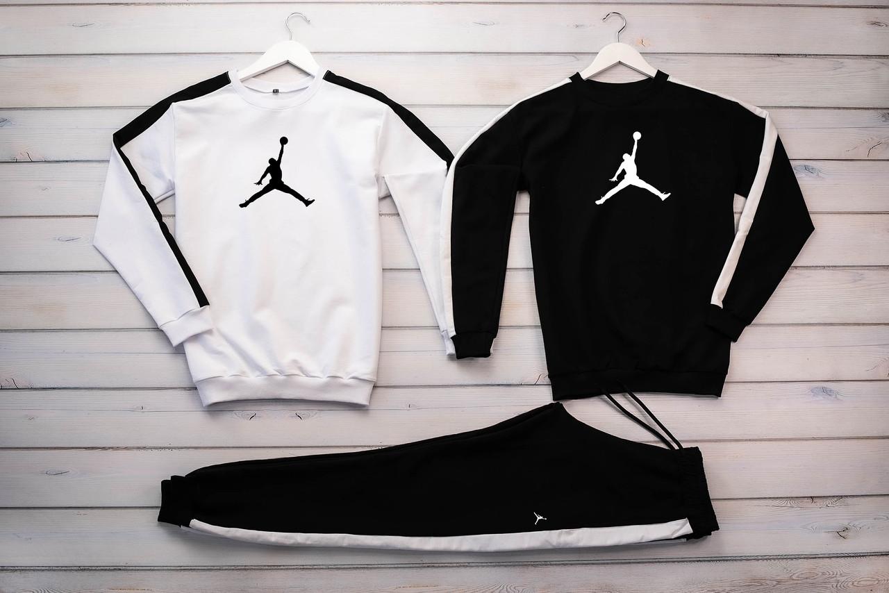 Jordan  мужской белый спортивный костюм без капюшона весна осень.Jordan  Свитшот белый черный+штаны