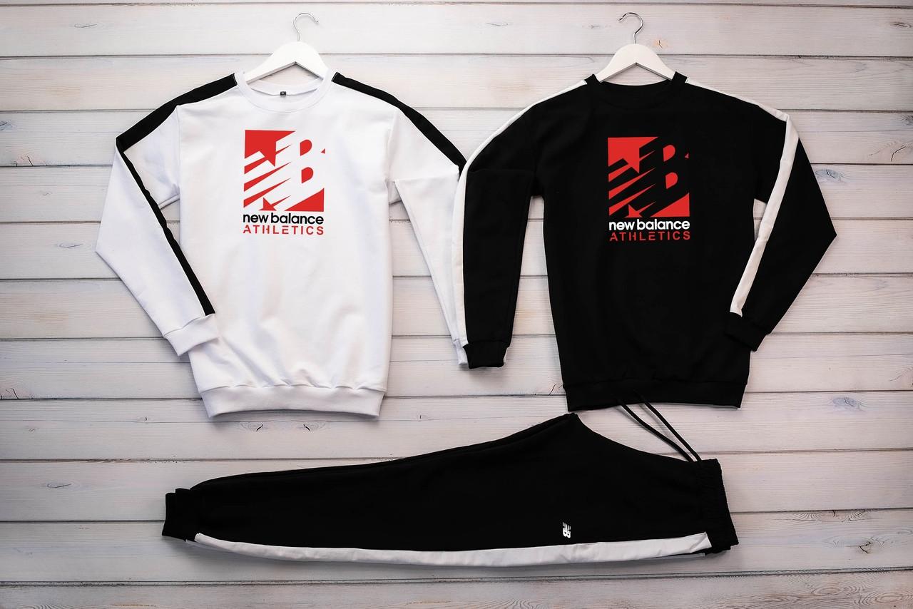 New Balance Athletics мужской белый спортивный костюм без капюшона весна осень.NB Свитшот белый черный+штаны