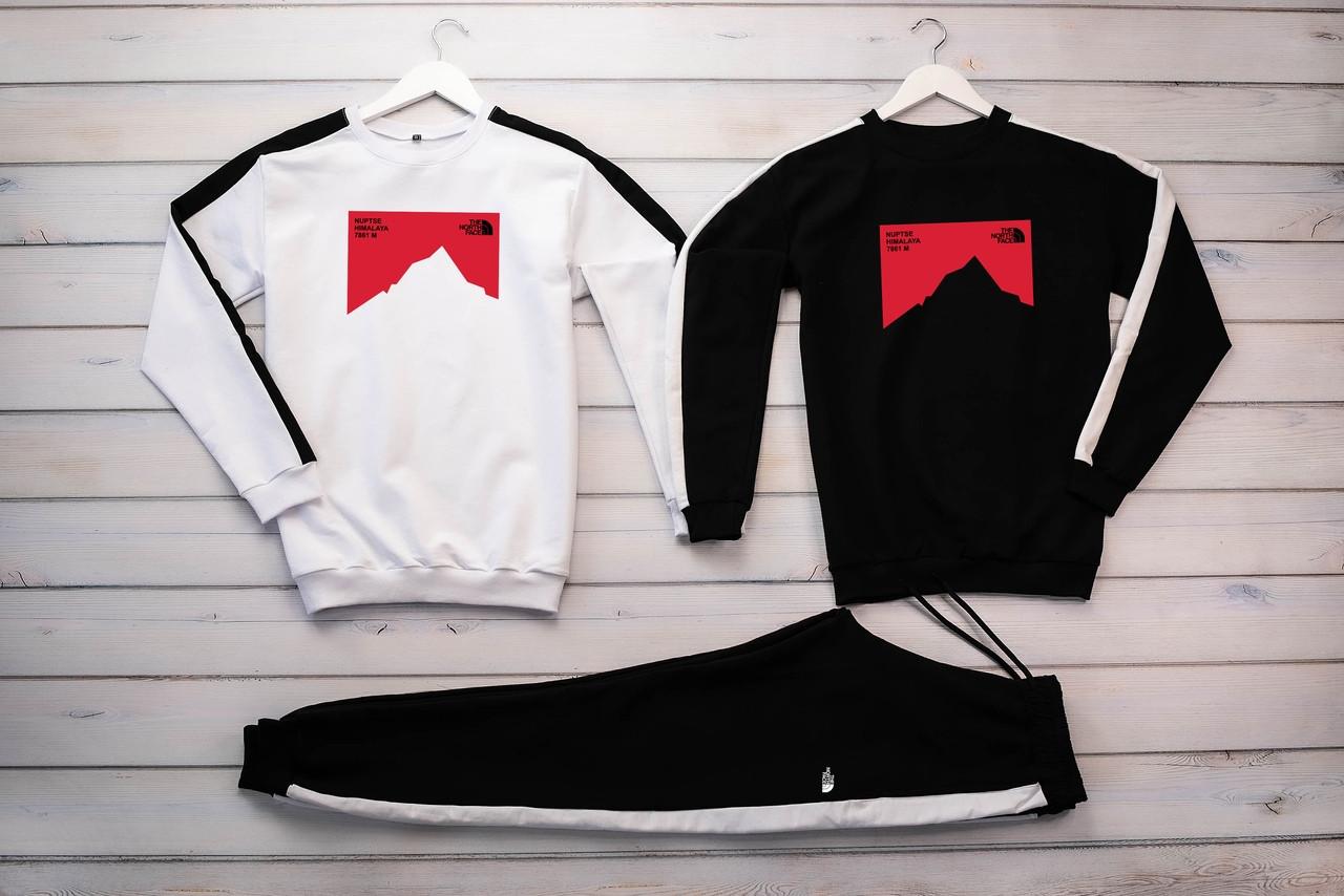 The North Face мужской черный спортивный костюм без капюшона весна осень. The North Свитшот белый черный+штаны