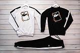 Lacoste мужской белый спортивный костюм весна осень.Lacoste Свитшот 2шт белый черный + штаны, фото 3