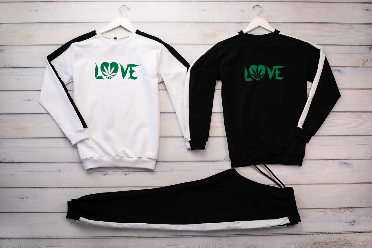 Cannabis мужской Черный спортивный костюм весна осень.Cannabis Свитшот 2шт белый черный + штаны