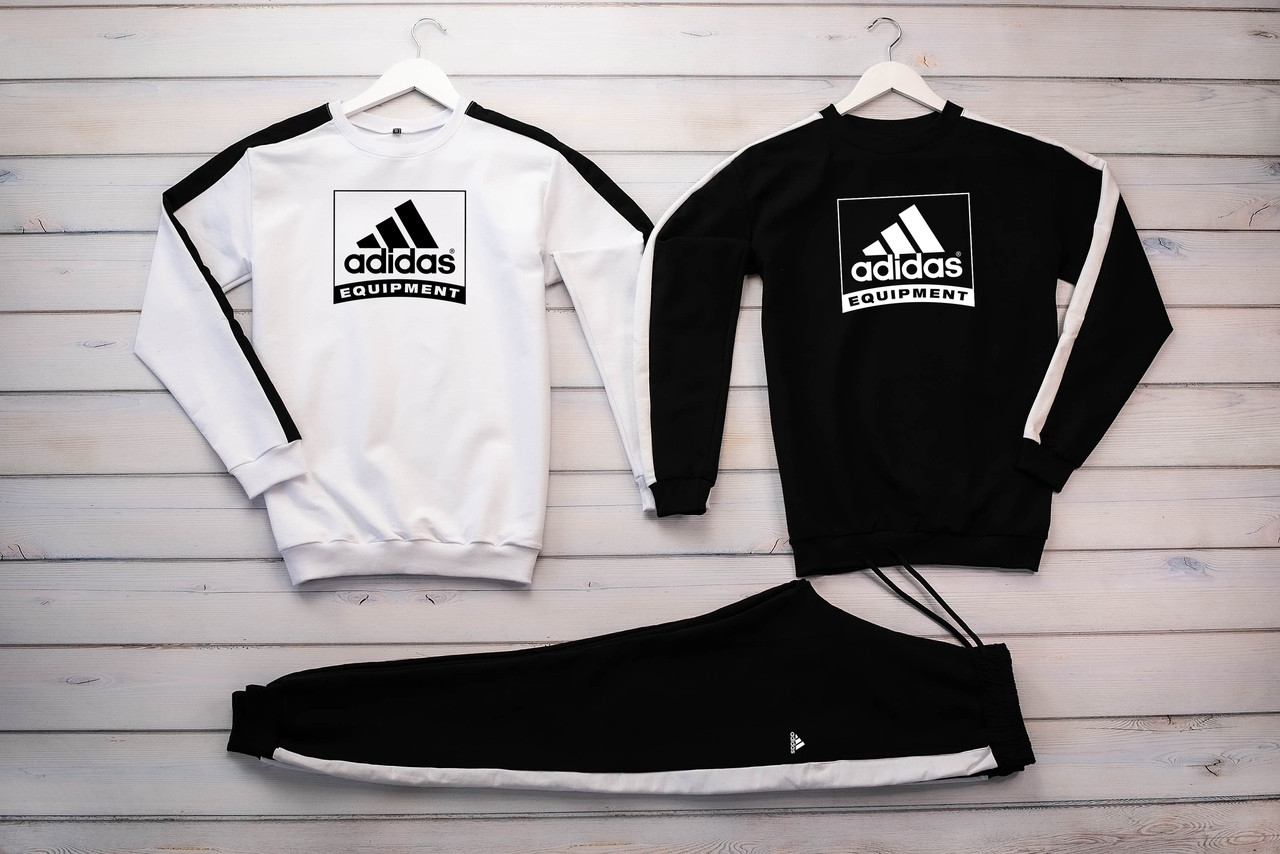 Adidas Equipment мужской черный спортивный костюм весна осень.AdidasEquipment Свитшот 2шт белый черный + штаны