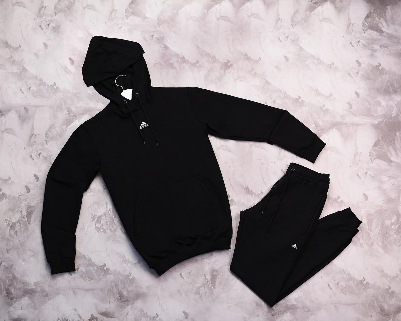 Adidas мужской черный спортивный костюм с капюшоном весна осень.Adidas Худи черный + штаны черные комплект