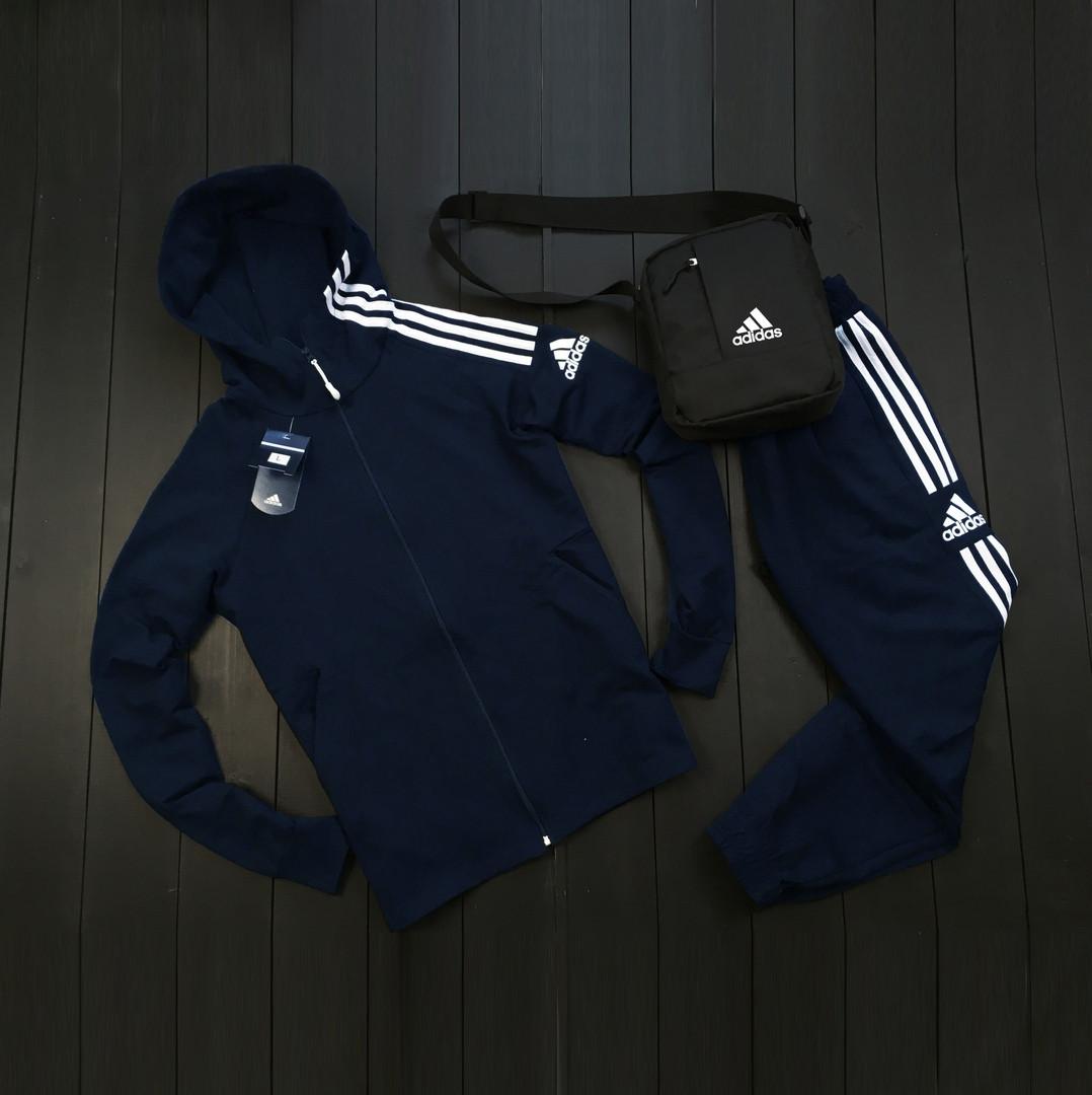 Adidas Мужской синий спортивный костюм осень весна с капюшоном|Adidas Олимпийка синяя +штаны синие+мессенджер