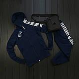 Adidas Мужской синий спортивный костюм осень весна с капюшоном|Adidas Олимпийка синяя +штаны синие+мессенджер, фото 2