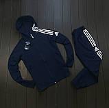 Adidas Мужской синий спортивный костюм осень весна с капюшоном|Adidas Олимпийка синяя +штаны синие+мессенджер, фото 3