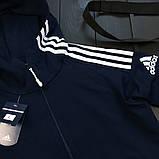 Adidas Мужской синий спортивный костюм осень весна с капюшоном|Adidas Олимпийка синяя +штаны синие+мессенджер, фото 4