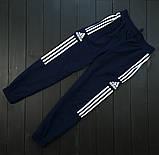 Adidas Мужской синий спортивный костюм осень весна с капюшоном|Adidas Олимпийка синяя +штаны синие+мессенджер, фото 5