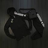 Adidas Мужской синий спортивный костюм осень весна с капюшоном|Adidas Олимпийка синяя +штаны синие+мессенджер, фото 6