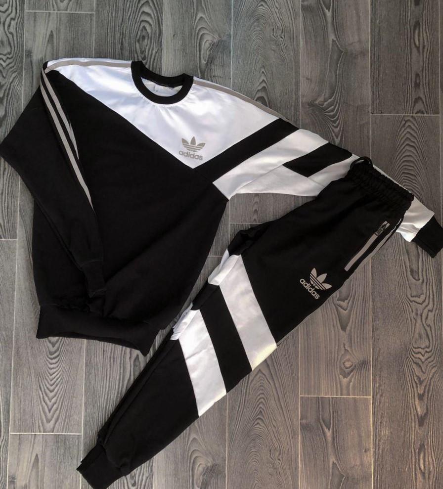.Adidas с рефлективом мужской черный спортивный костюм весна осень.Adidas рефлектив Свитшот черный + штаны