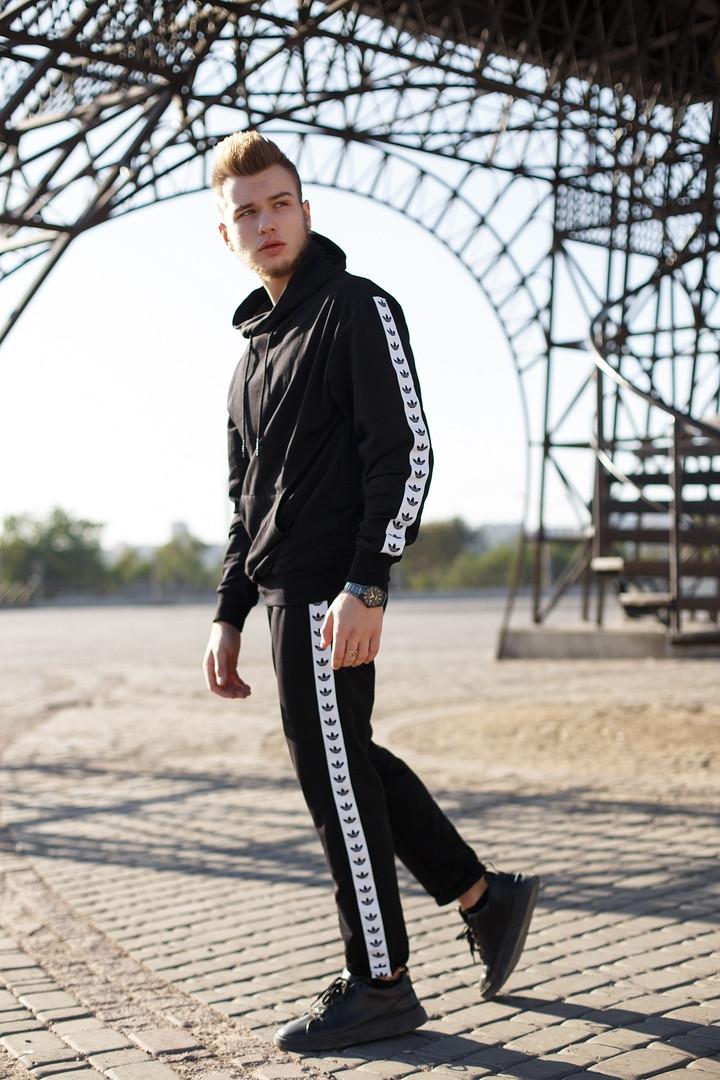 Adidas Мужской черный спортивный костюм с капюшоном весна осень.Adidas Худи черный +Adidas штаны черные
