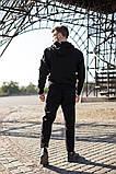 Adidas Мужской черный спортивный костюм с капюшоном весна осень.Adidas Худи черный +Adidas штаны черные, фото 2