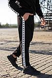 Adidas Мужской черный спортивный костюм с капюшоном весна осень.Adidas Худи черный +Adidas штаны черные, фото 3