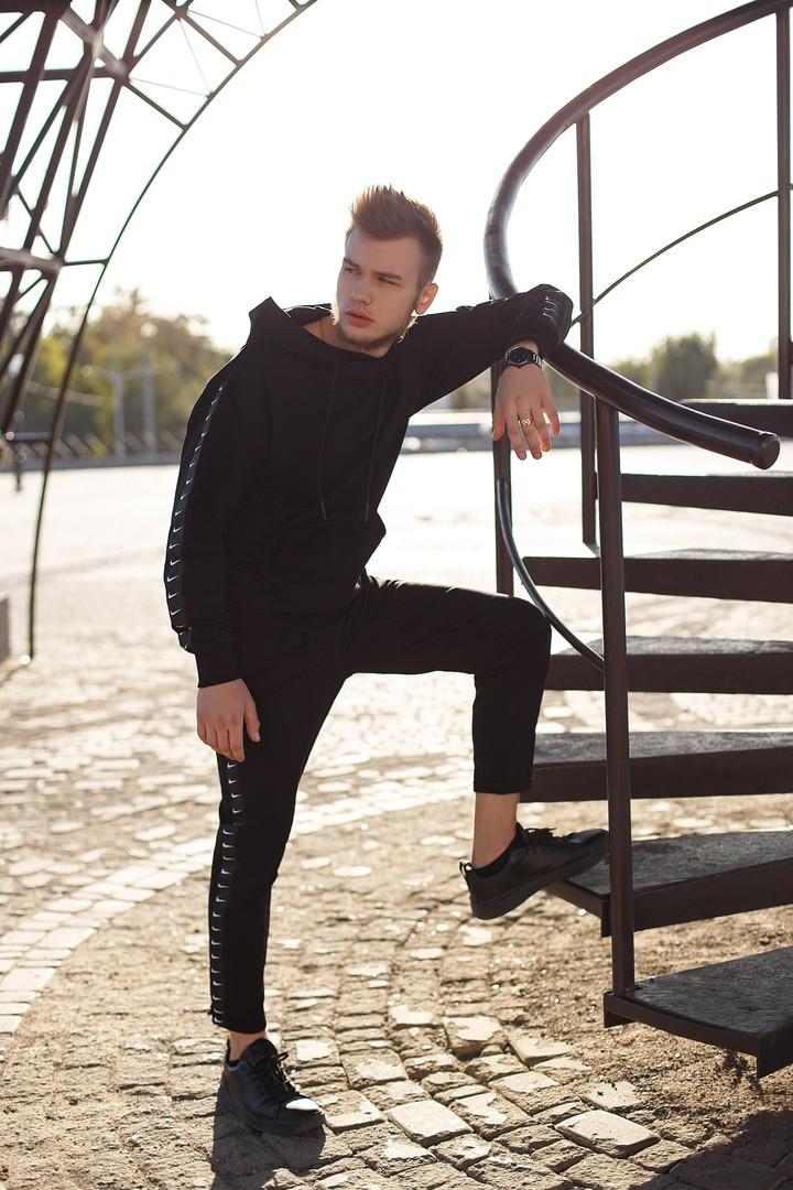 Nike Мужской черный спортивный костюм с капюшоном весна осень.Nike Худи черный +Nike штаны черные комплект