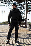 Nike Мужской черный спортивный костюм с капюшоном весна осень.Nike Худи черный +Nike штаны черные комплект, фото 3