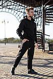 Nike Мужской черный спортивный костюм с капюшоном весна осень.Nike Худи черный +Nike штаны черные комплект, фото 4