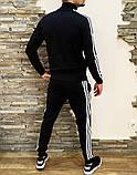 Adidas Мужской черный спортивный костюм весна лето на манжетах |Adidas Кофта черная штаны Adidas черные, фото 2