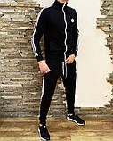 Adidas Мужской черный спортивный костюм весна лето на манжетах |Adidas Кофта черная штаны Adidas черные, фото 3