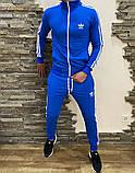 Adidas Мужской черный спортивный костюм весна лето на манжетах |Adidas Кофта черная штаны Adidas черные, фото 4