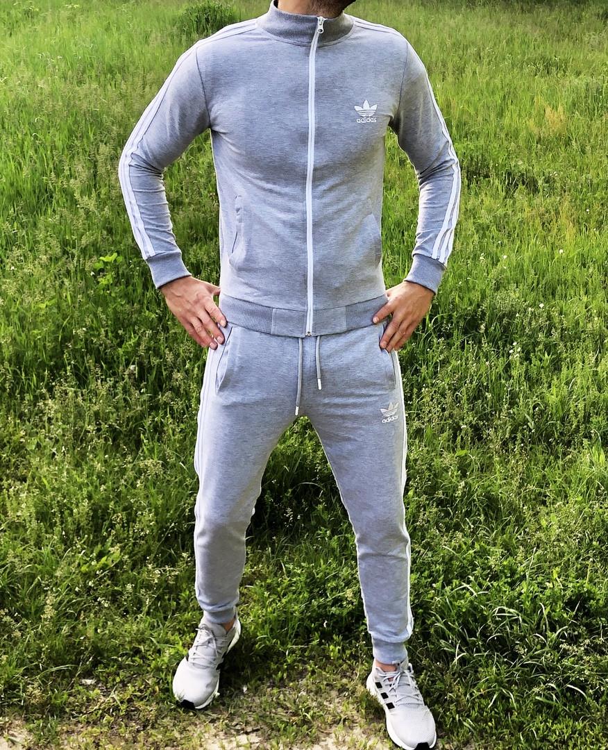 Adidas Мужской серый спортивный костюм весна лето без капюшона  Adidas Олимпийка серая штаны Adidas серые