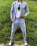 Adidas Мужской серый спортивный костюм весна лето без капюшона  Adidas Олимпийка серая штаны Adidas серые, фото 2