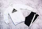 Adidas Equiment мужской белый спортивный костюм весна осень.Adidas Свитшот белый штаны черные с полосами, фото 2