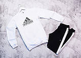 Adidas Equiment мужской белый спортивный костюм весна осень.Adidas Свитшот белый штаны черные с полосами, фото 3