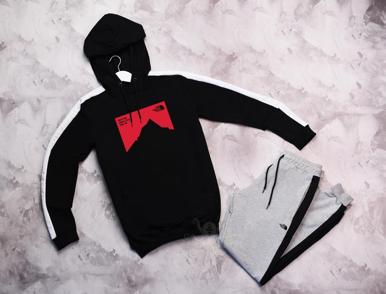 The North Face мужской черный с лампасами спортивный костюм с капюшоном весна осень.North Face худи +штаны