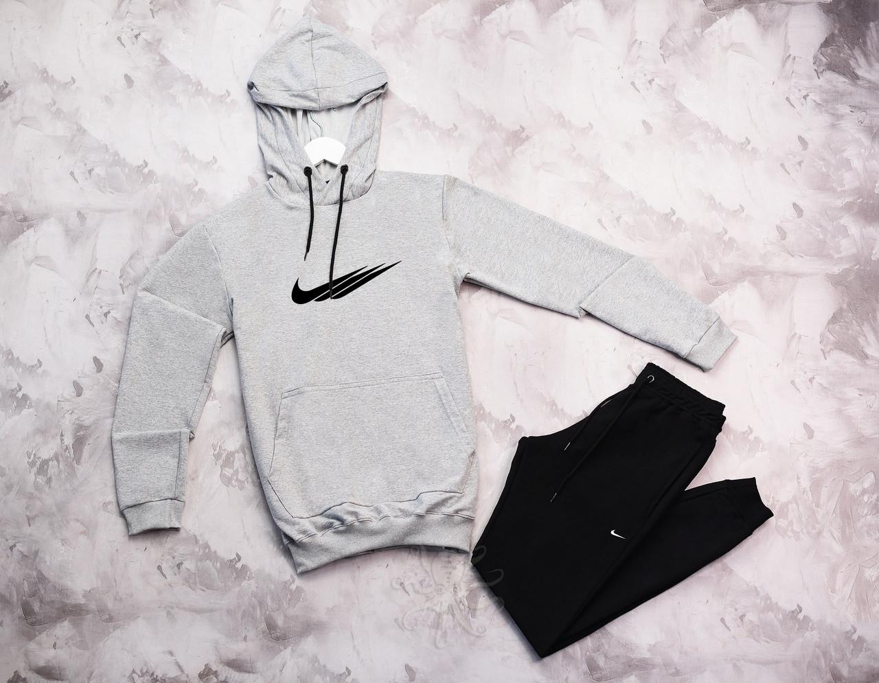 Nike мужской серый спортивный костюм с капюшоном весна осень. Nike худи серое штаны Nike черные