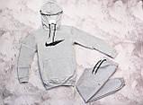 Nike мужской серый спортивный костюм с капюшоном весна осень. Nike худи серое штаны Nike черные, фото 2