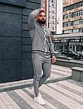 Тру-Тренер Мужской серый спортивный костюм осень/весна в клетку Кофта серая в клетку штаны серые в клетку, фото 2