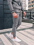 Тру-Тренер Мужской серый спортивный костюм осень/весна в клетку Кофта серая в клетку штаны серые в клетку, фото 4
