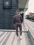 Тру-Тренер Мужской серый спортивный костюм осень/весна в клетку Кофта серая в клетку штаны серые в клетку, фото 6