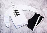 Adidas Fri мужской белый спортивный костюм весна осень.Adidas Свитшот белый штаны черные с полосами, фото 2