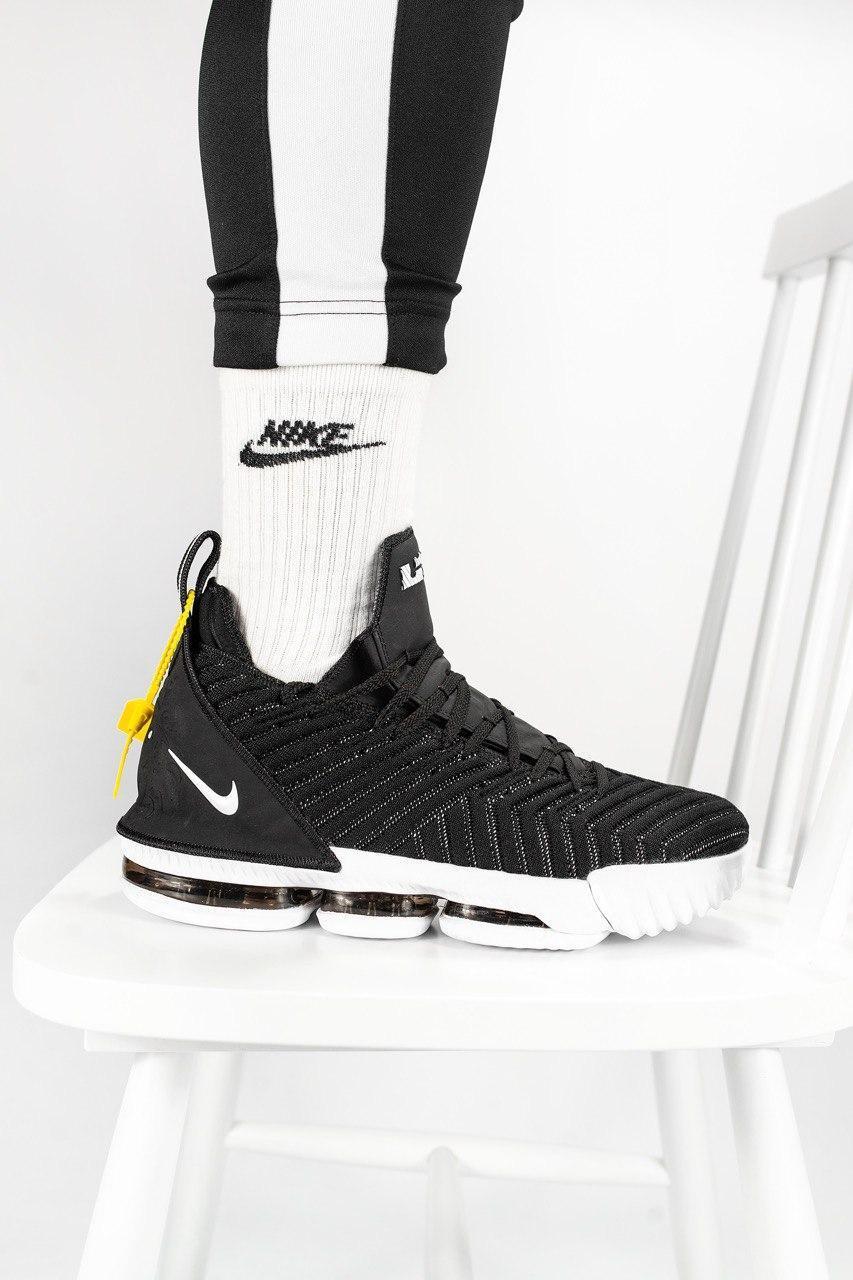 """Чоловічі кросівки Nike Lebron 16 """"Black White"""" Чорні, Репліка"""